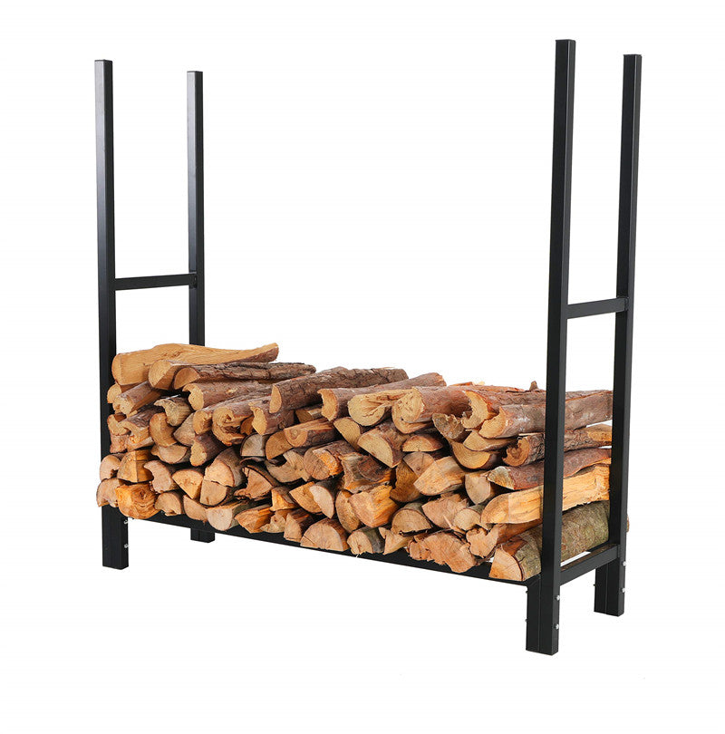 PHI VILLA Heavy Duty Iron Firewood Rack for Fireplaces