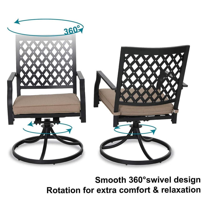 PHI VILLA Wood-Look Outdoor Patio Dining Set - Extendable Table and Cushioned Swivel Chairs