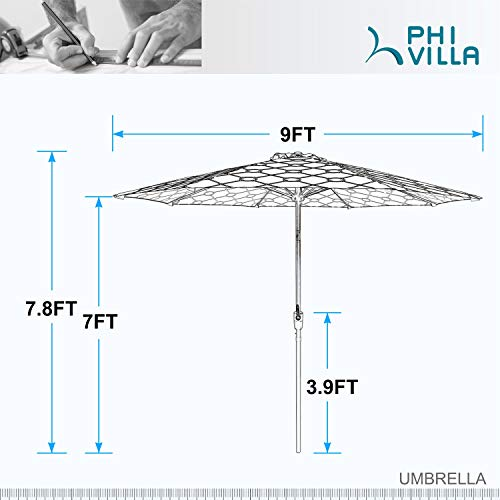 PHI VILLA 9ft Crank Open & Auto-Tilt Market Umbrella with Printing Polyester Canopy