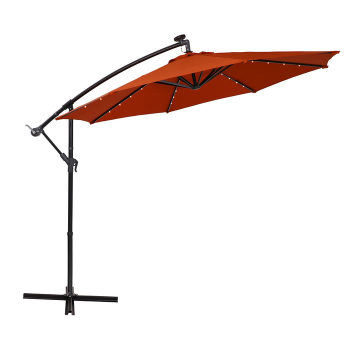 Orange PHI VILLA 10ft Offset Hanging 32 PCS LED Lights Solar Patio Umbrella