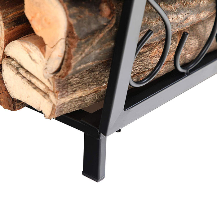 PHI VILLA 17 Inch Small Decorative Indoor/Outdoor Firewood Racks Steel Wood Storage Log Rack Holder
