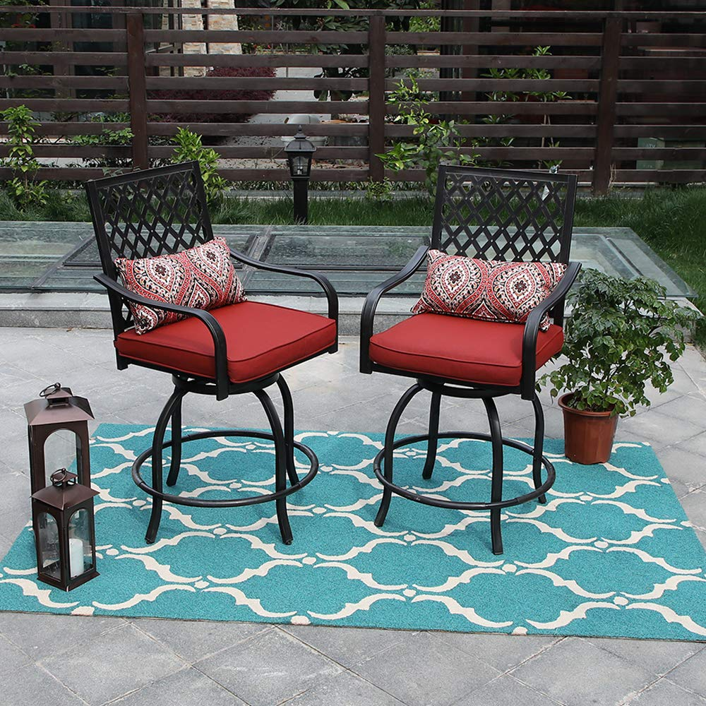 Phi Villa Outdoor Extra Wide Height Swivel Bar Stools Chairs