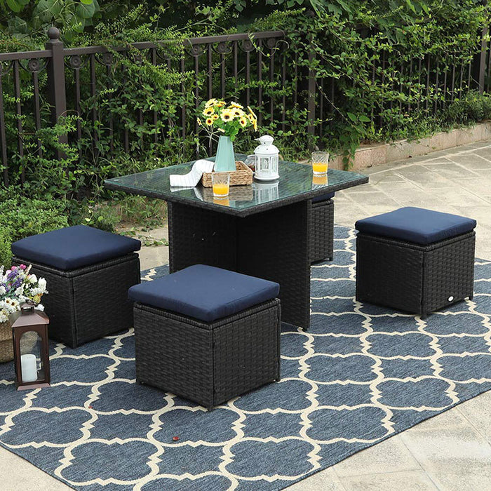 PHI VILLA 5 Piece Outdoor Sectional Patio Sofa Dining Set with Cushion Box Storage