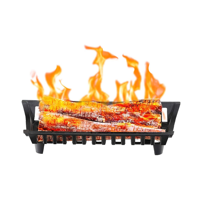 PHI VILLA Fireplace Grate Heavy Duty Steel Fire Grates with Legs, Black