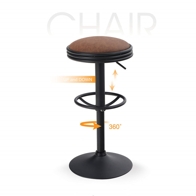 ALPHA HOME Swivel Counter Height Adjustable Bar Stool with Chrome Footrest - Brown