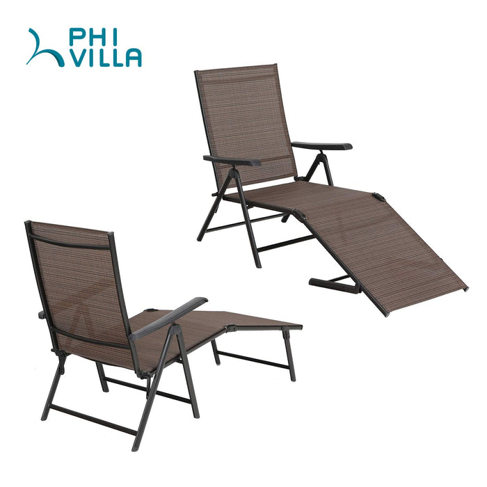 PHI VILLA 5 Stages Adjustable Patio Folding Lounge Chair Metal Outdoor Recliner Chaise