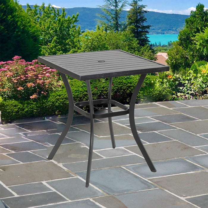 "MF Outdoor Patio 31"" Square Height Bar Table with Umbrella Hole - 36"" Height Coating Old Craft"