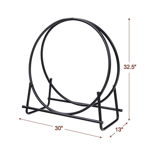 PHI VILLA 30 Inch Log Hoop Firewood Rack Fireplace Wood Storage Holder, Indoor/Outdoor Heavy Duty Iron Black