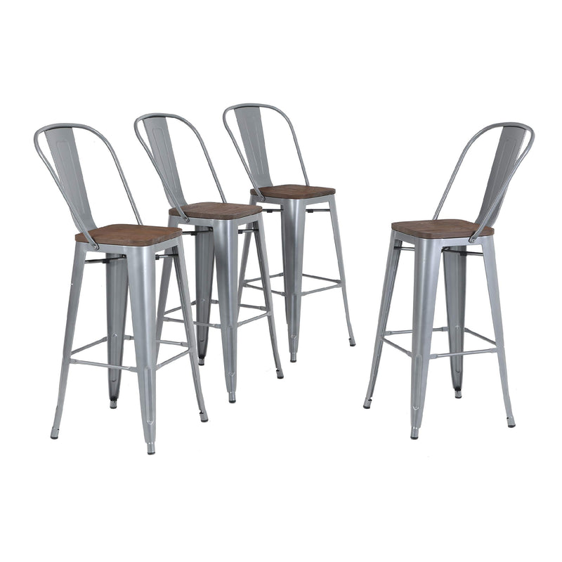 "ALPHA HOME 30"" High Back Bar Stools with Wood Seat, Set of 4"