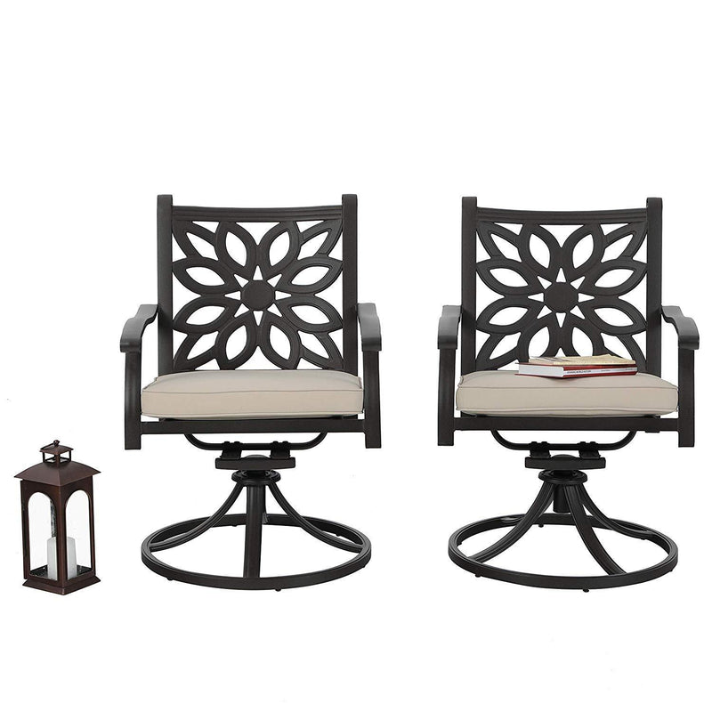 PHI VILLA Cast Aluminum Patio Dining Chairs