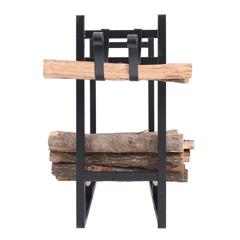 PHI VILLA Heavy Duty Firewood Racks Indoor/Outdoor Log Rack with Kindling Holder, 30 Inches Tall, Black