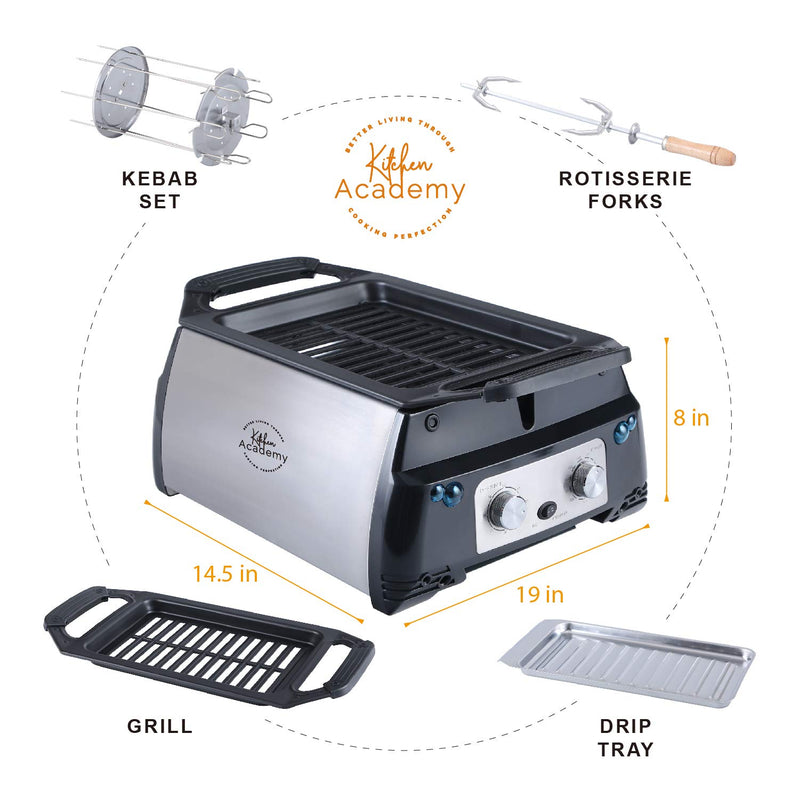 Kitchen Academy Indoor Infrared Grill, Portable Non-Stick Electric Tabletop Kitchen BBQ Grill and Rotisserie