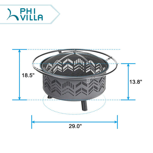 "PHI VILLA 29"" Chevron Portable Steel Patio Fire Pit"