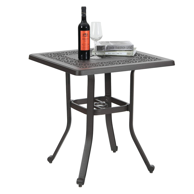 PHI VILLA Patio Cast Aluminum Bistro Square Dining Table with Umbrella Hole