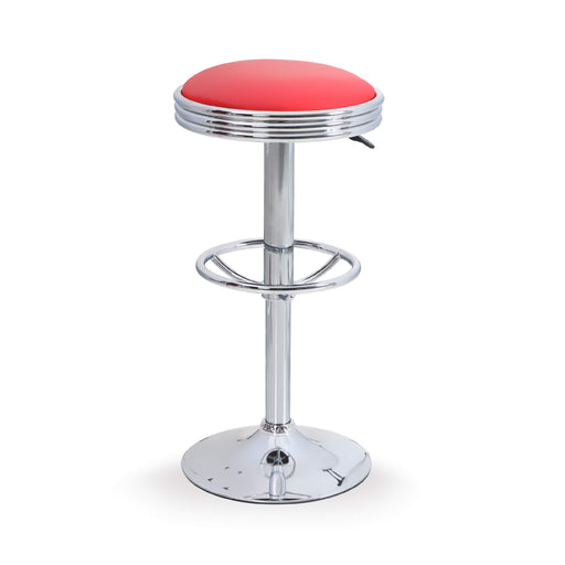 ALPHA HOME Swivel Bar Stool Counter Height Round PU Leather Adjustable Pub Stool with Chrome Footrest