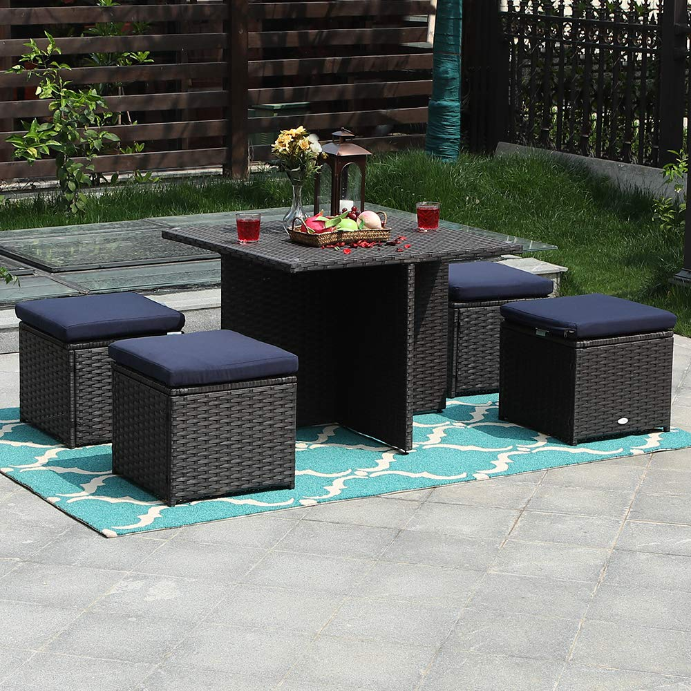 PHI VILLA 5 Piece Outdoor Sectional Dining Set with Cushion Box Storage