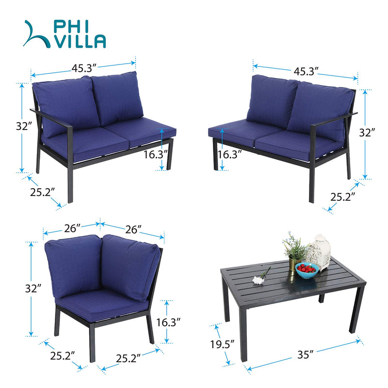 PHI VILLA 5 Seater L-Shaped Metal Sectional Conversation Set with Water-Repellent Cushions & Coffee Table