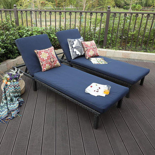PHI VILLA 2 Piece Rattan Wicker Chaise Lounger Chair