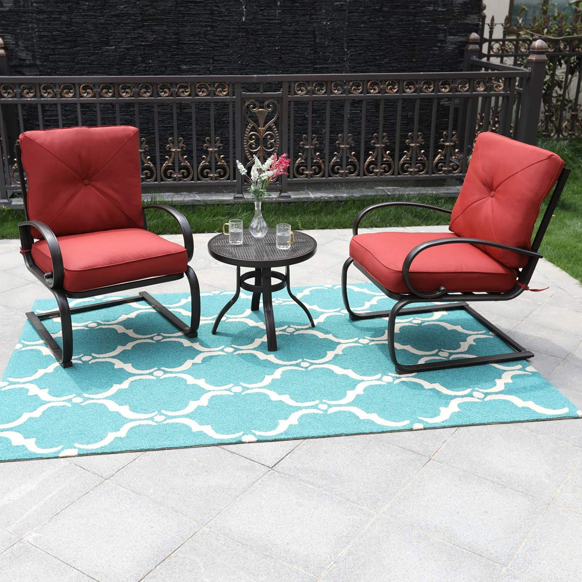 PHI VILLA Outdoor C-Spring Metal Lounge Cushioned Chairs Set - Red