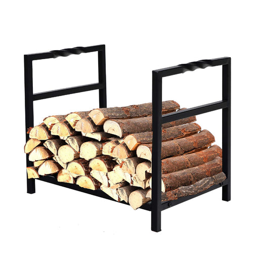 PHI VILLA 16 Inch Small Decorative Indoor/Outdoor Firewood Racks Steel Wood Storage Log Rack Holder