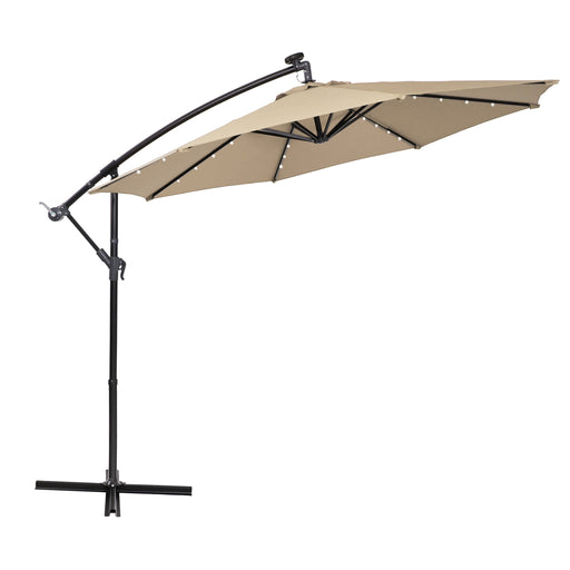 Beige PHI VILLA 10ft Offset Hanging 32 PCS LED Lights Solar Patio Umbrella