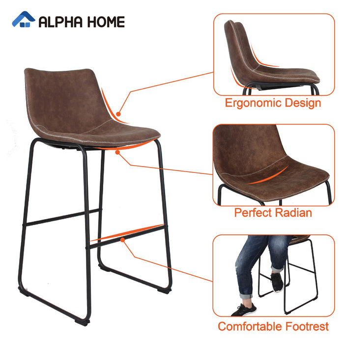 "ALPHA HOME 30"" Bar Stools Vintage Leathaire Counter Height Stools Pub Kitchen Chairs, Dining Room Furniture"