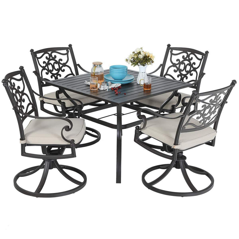 "MF STUDIO 5 Piece Cast Aluminum Patio Dining Set - 37"" Metal Dining Table and Extra Wide Chairs"