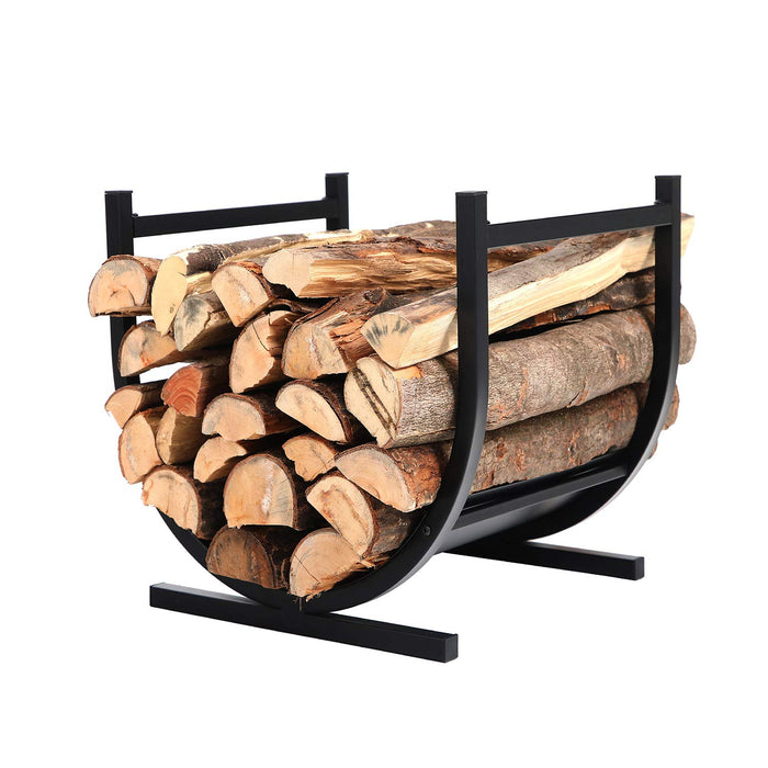 PHI VILLA 17 Inches Small Decorative Indoor/Outdoor Firewood Log Rack Bin with Scrolls, Black