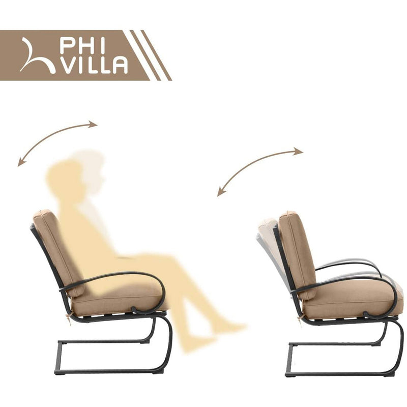 PHI VILLA C-Spring Cushioned Chairs with Wood-look Extendable Table Outdoor Patio Dining Set