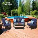 PHI VILLA 4 Piece Metal Patio Conversation Set with Cushion