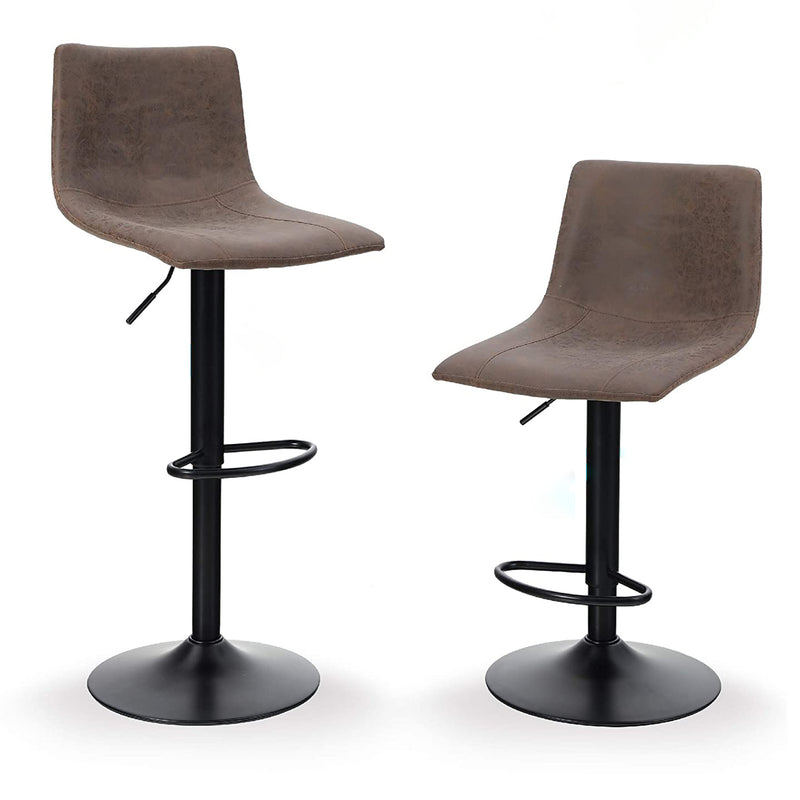 PHI VILLA Square Adjustable Height Leather and Metal Swivel Bar Stools, Set of 2