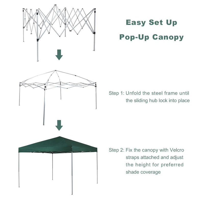 PHI VILLA 10x10ft Instant Pop Up Canopy w/ Wheeled Bag, 100 Sq. Ft of Shade