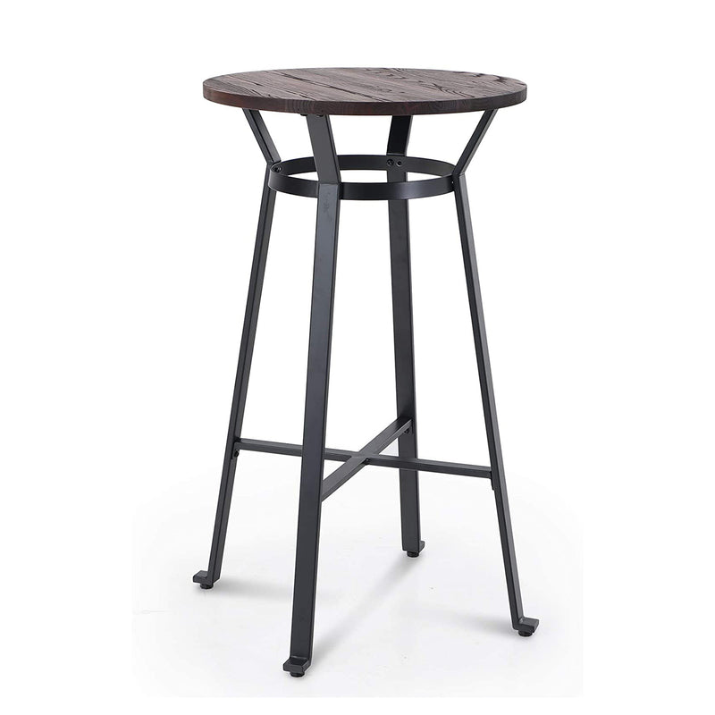 PHI VILLA Metal Bar Table, Round Bar Height Pub Table with Wood Top, 41""