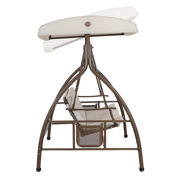 PHI VILLA 3 Person Patio Swing Chair Glider with Side Table