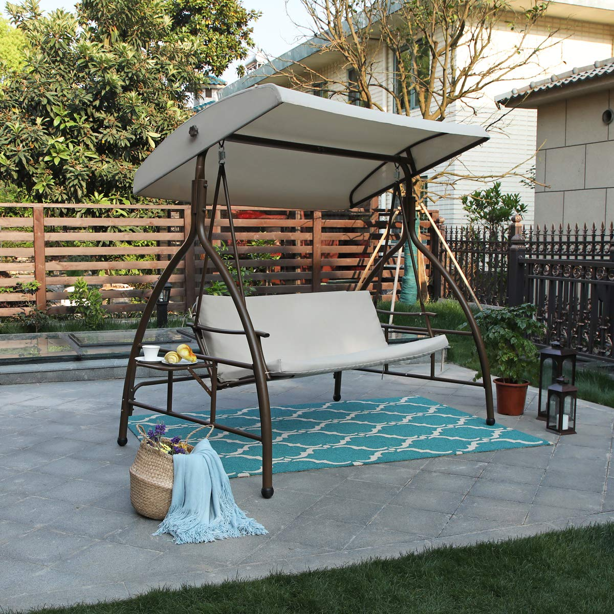 Alphamarts coupon: MFSTUDIO 3 Person Patio Swing Chair Glider with Side Table 3 Person Patio Swing Chair Glider with Side Table & Canopy