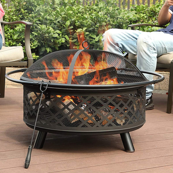 PHI VILLA 32″ Steel Patio Fire Pit with Poker and Spark Screen