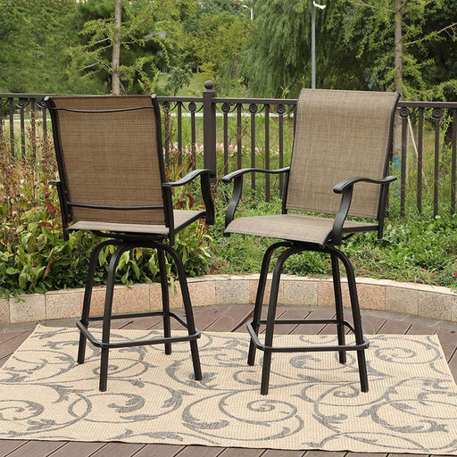 PHI VILLA Patio High Bistro Swivel Bar Stools