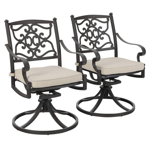 PHI VILLA Cast Aluminum Retro Patio Swivel Dining Chairs