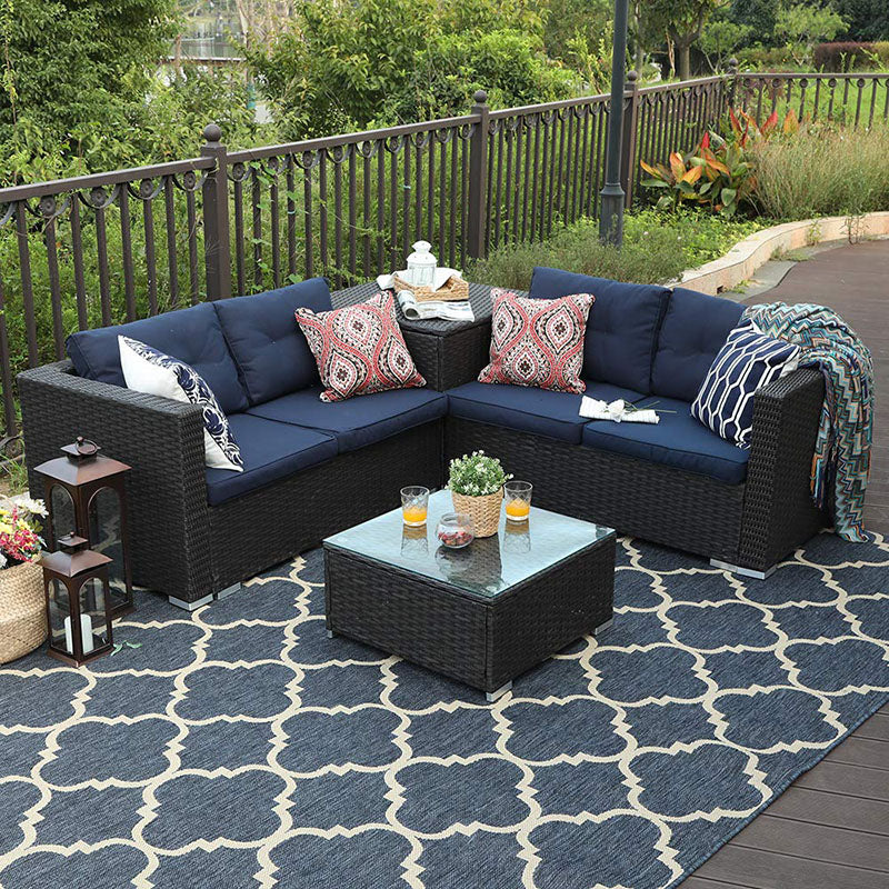 Phi Villa Outdoor Sectional Set Blue