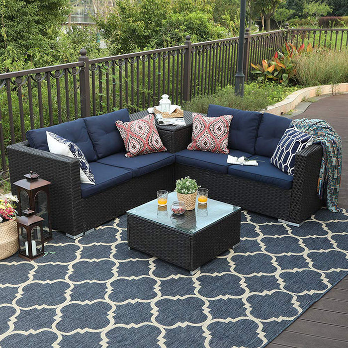 Phi Villa Outdoor Sectional Patio Sofa Set With Cushion Box Storage
