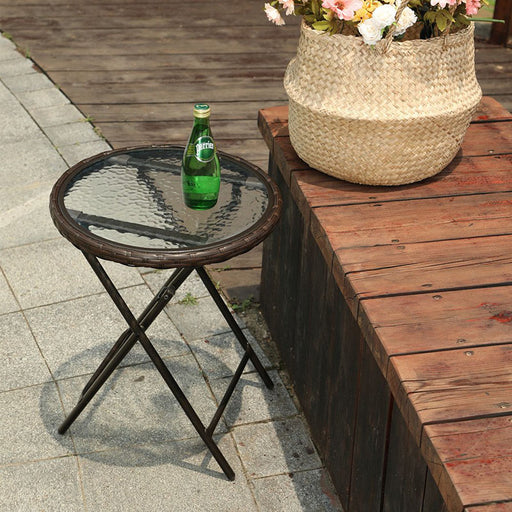 PHI VILLA Rattan Wicker Patio Side Table with Tempered Glass Tabletop