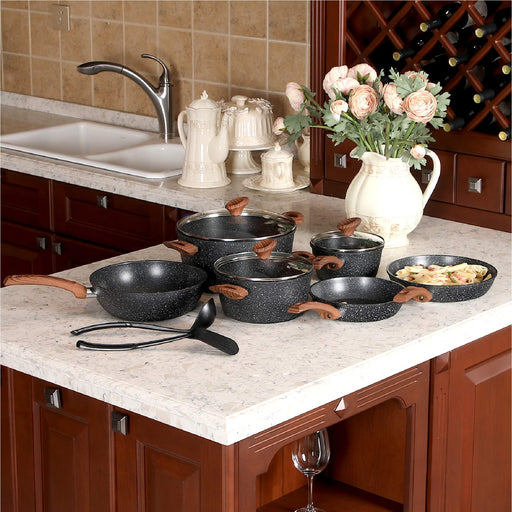Black 12 Piece Nonstick Granite-Coated Cookware Set