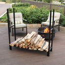 PHI VILLA Heavy Duty Iron Firewood Log Rack for Fireplaces