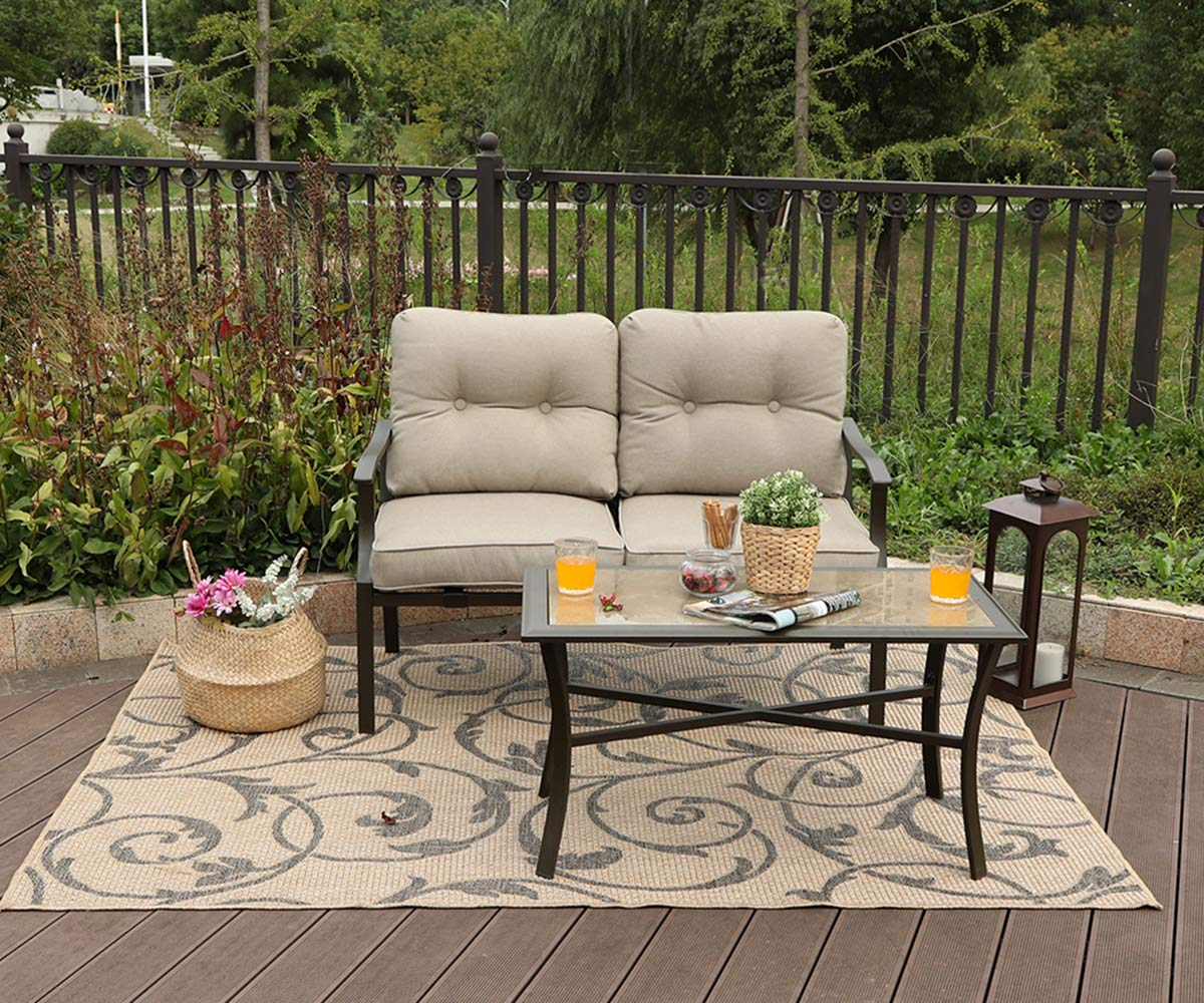 Phi Villa Loveseat Patio Padded Conversation Set