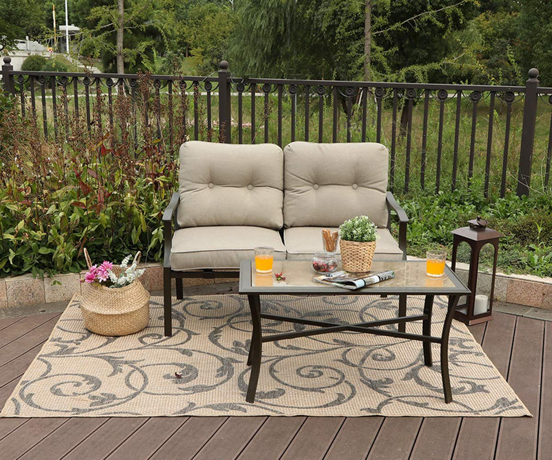 PHI VILLA Patio Seating Group with Cushions, Outdoor Conversation Set