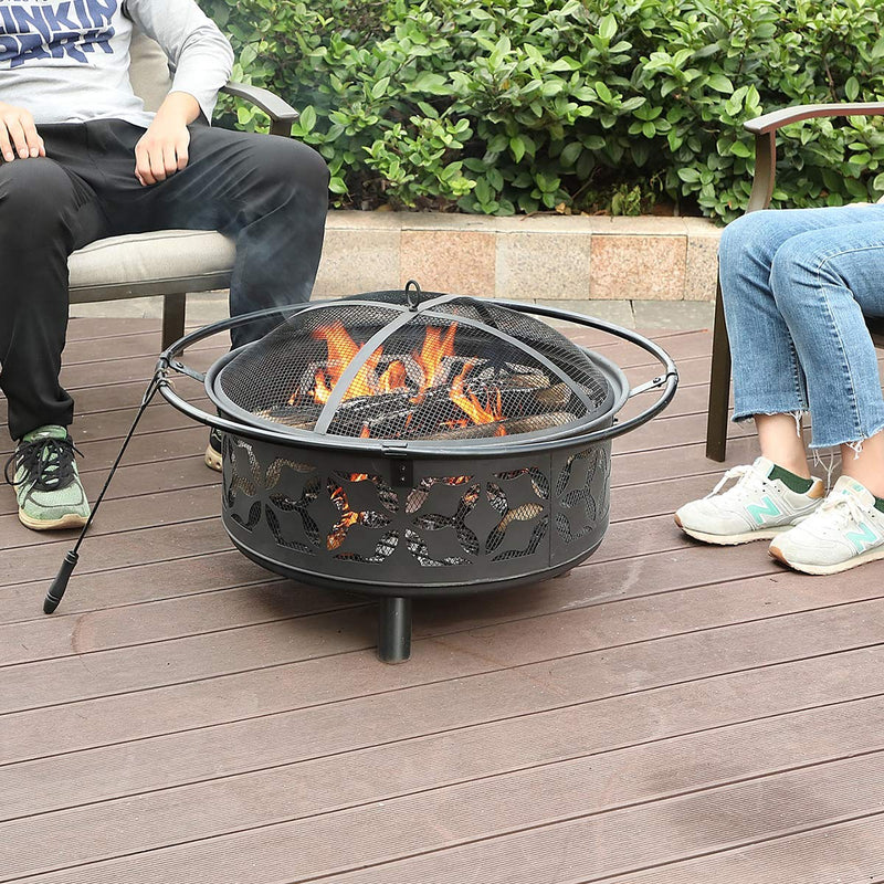 "PHI VILLA 29"" Leaves Portable Steel Patio Fire Pit"