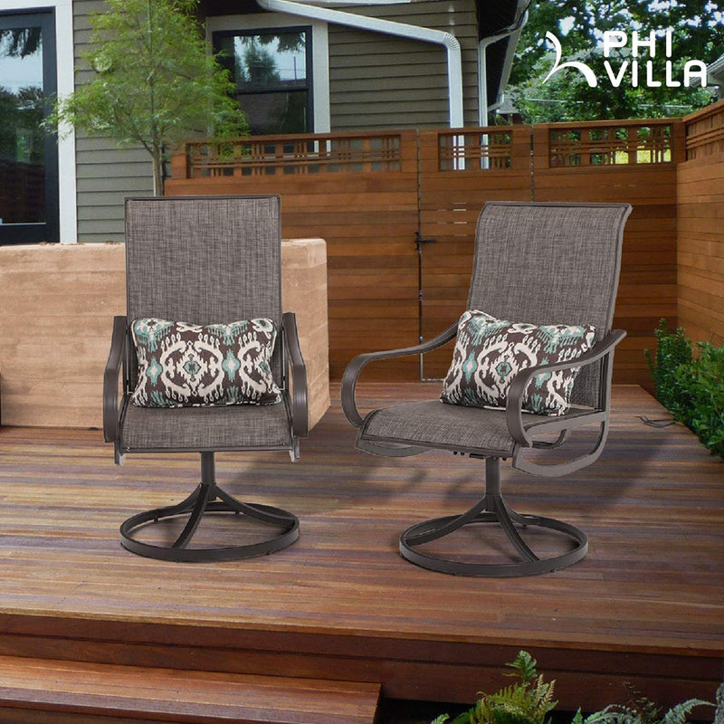 PHI VILLA Patio Swivel Rocker Chair Outdoor Dining Set
