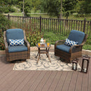 PHI VILLA Blue Rattan Swivel Rocking Chairs 3 PC Patio Conversation Set