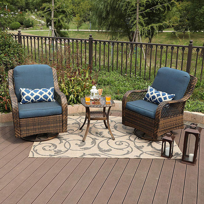 Phi Villa Rattan Swivel Rocking Chairs Patio Conversation Set