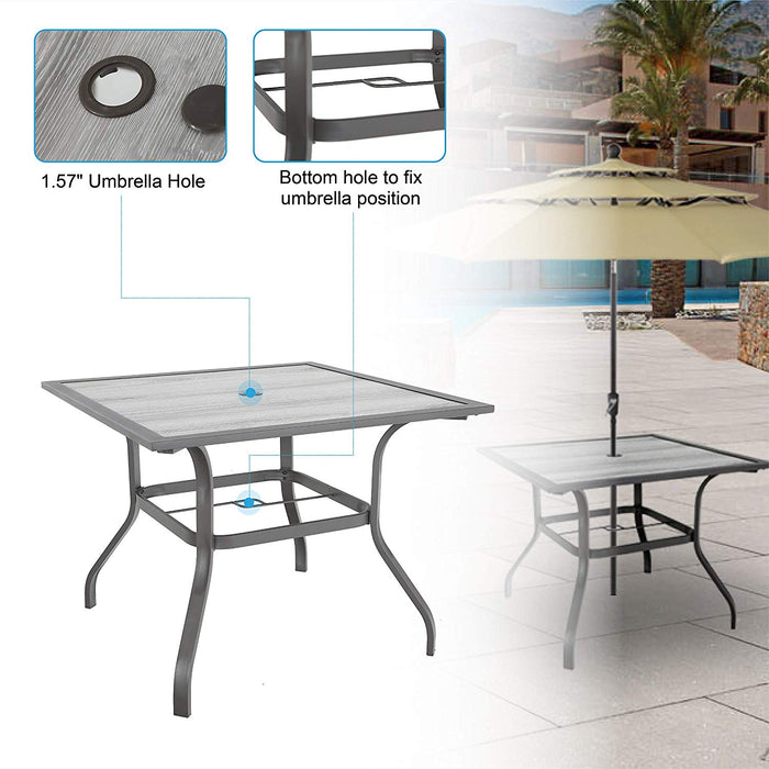 "PHI VILLA Patio Dinning Table 37"" x 37"" Outdoor Umbrella Bistro Set Garden Furniture Table, 1.57"" Umbrella Hole, Steel Frame"